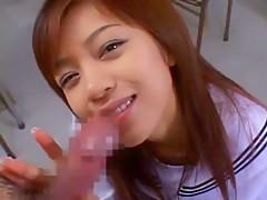Crazy Japanese model Youming Uehara in Amazing College/Gakuseifuku, Facial JAV video