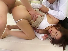 Hottest Japanese chick Runa Akatsuki in Fabulous Threesome, Big Tits JAV clip