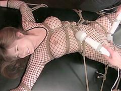 Best Japanese model in Incredible Threesome, Fishnet JAV scene