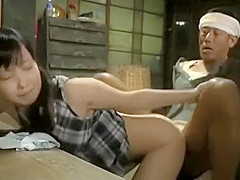 Horny young asian schoolgirl seduces older uncle to fuck her doggy style