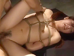 Tied-up Japanese cutie stuffed with a thick hard