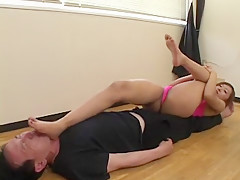 Big booty Jap sits on her slave's face