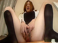 Japanese woman masturbates with food and soy beans