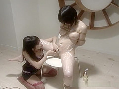 Tied up tightly by her Asian lesbian mistress
