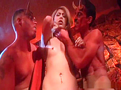 Kat is fucked by two hot men and is anally punished