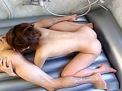 Chinatsu Nakano gets into hot lingerie before hardcore fucking