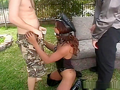 Lyla Lei pleases two men outdoors in hot action