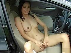 Sexy video of Asian amateur in car masturbating
