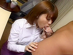 Horny Nagisa Sasaki blowjob and cum swallow
