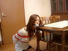 Gagged and tied Japan girl talks into phone