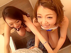 Two Hot Japanese Babe Blowjob and Swallow