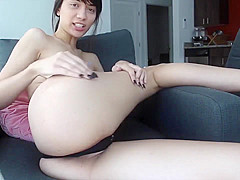 Hot Asian-hybrid girl take deep masturbate with dildo