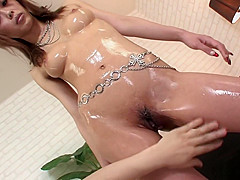 Cute gal with natural tits Rina finger fucked and toyed