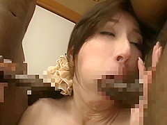 Japanese wife Squirting by two big black dick