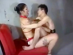 Standing Strapon Fucking - Larger Japanese Woman Dominates