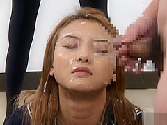 Japanese babe in hot bukkake
