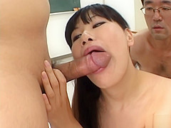 Beautiful Asian girl gives a blowjob