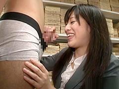 Miku Sunohara hot milf in her office suit sucks cock