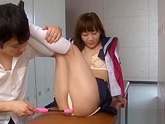 Yuri Shinomiya schoolgirl is masturbated in the locker room