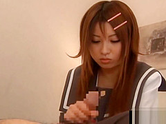 Redhead asian coed gives BJ