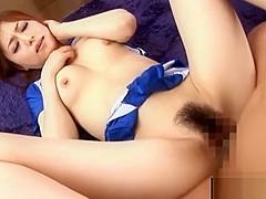 Hot cheerleader gets hairy twat nailed