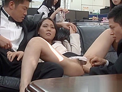 Pretty Asian office chicks get in some public sex at work