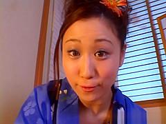 Shizuku Morino naughty Asian milf in kimono gets facial