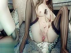 Korean lesbians masturbate in stockings