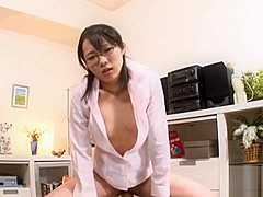 Asian girl explores a big penis