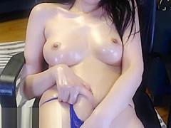 Asian model loves to oil her body