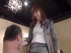 Japanese mistress plays with old man