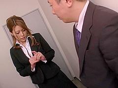 Haruka Sanada, busty Asian office lady gives hot handjob