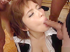 Stockings minx Ogata Runa penetrated and gets bukkake