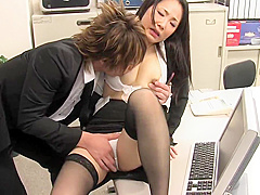 Sexy secretary sucks and fucks collegue's cock at work