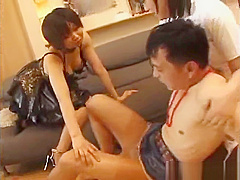 Two asian goddesses abusing the slave