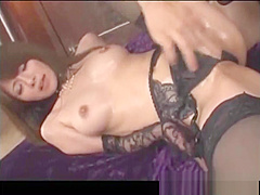 Asian girl blowjob, fingered and titty fucked