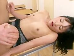 Horny Japanese student fucks shemale teacher in classroom