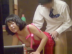 Japanese babe in lingerie gets watched fucking through window