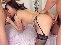 2 tough dudes are having wild fun fucking breasty asian