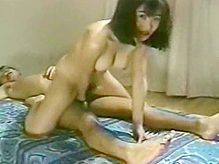Vintage Japanese chick getting the reverse piledriver
