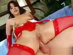 ASIAN BABE IN RED VINYL GETS DP'd