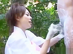 Japan CFNM experience at outdoor spa with group handjob