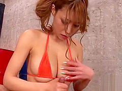 Cute asian with hot mambos stimulates with naughty blowjob