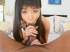 Classy asian orally pleasing huge black cock