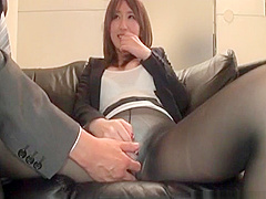 Japanese Girl Gets Fingered Through Panty Hose And White Pant