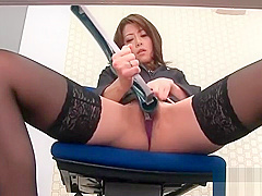 During an office break Maki Hojo toys her pussy with office s