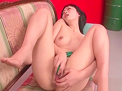 Gorgeous Nozomi Hazuki uses toys and fingers to make her puss