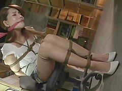 Asian girl chairtied (consensual bondage)