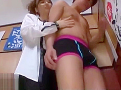 Japanese busty Milf pleases younger guy
