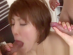 Stimulating group fucking for Asian